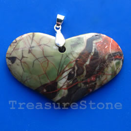 Pendant, jasper. 20x35mm heart. Sold individually.