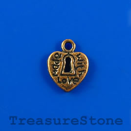 "Charm, copper-finished, 10mm heart, ""Made with love"". Pkg of 12."