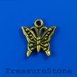 Charm, brass-finished, 14x16mm butterfly. Pkg of 14.
