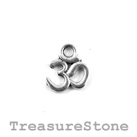 Charm, silver-plated, 10mm Aum symbol.Pkg of 15.