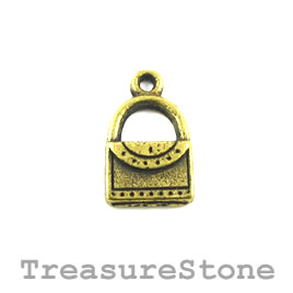 Charm/Pendant, brass colored, 11x14mm purse. Pack of 10.