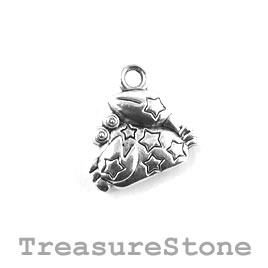 Charm/Pendant, silver-plated, 11mm Cancer. Pack of 10.
