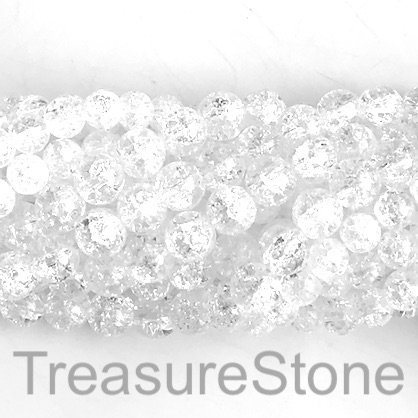 "Bead, cracked crystal glass, 10mm round. 16"", 42pcs"