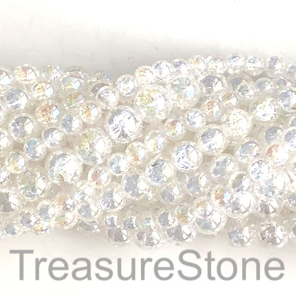 "Bead, cracked crystal glass, AB, 10mm round. 16"", 42pcs"