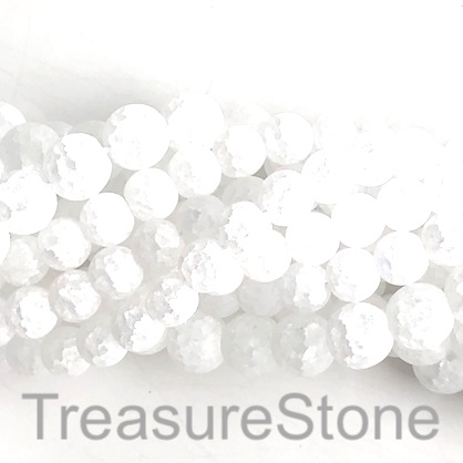 "Bead, cracked crystal glass, matte, frosted, 10mm round. 15"", 40"