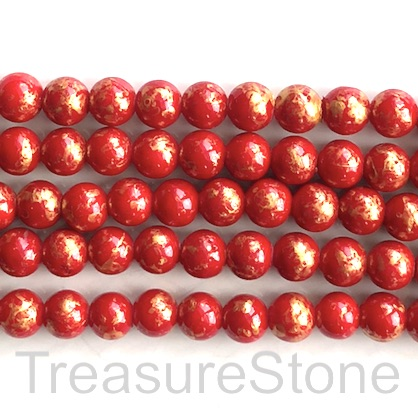 Bead, jade (dyed), red, gold foil, 10mm round, 16-inch, 42pcs