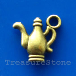 Pendant/charm, brass-finished, 14mm teapot/kettle. Pkg of 10.