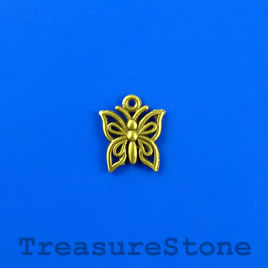 Charm, brass-finished, 12x14mm butterfly. Pkg of 12.